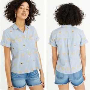 Madewell Star Embroidered Striped Shirt M